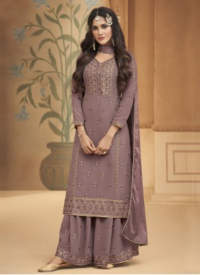 Titillating Embroidered Lavender Faux Georgette Designer Palazzo Salwar Suit
