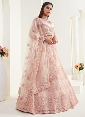 Titillating Resham Net Peach Designer Lehenga Choli