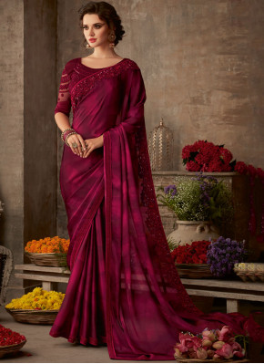 Titillating Silk Maroon Embroidered Traditional Saree