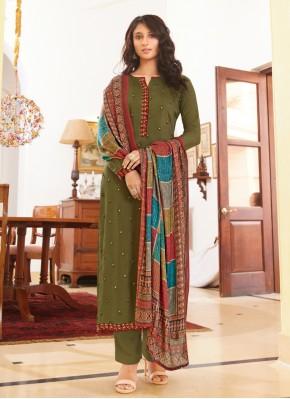 Topnotch Embroidered Muslin Green Designer Straight Salwar Suit