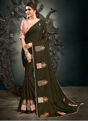 Topnotch Green Mehndi Designer Saree