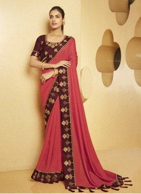 Topnotch Pink Embroidered Traditional Saree