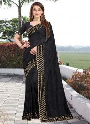 Traditional Designer Saree Embroidered Silk in Black