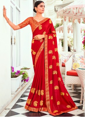 Traditional Designer Saree Embroidered Vichitra Silk in Red