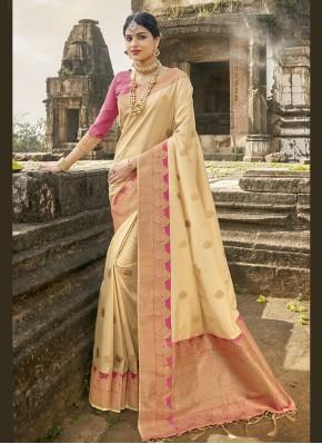 Traditional Designer Saree Fancy Banarasi Silk in Cream