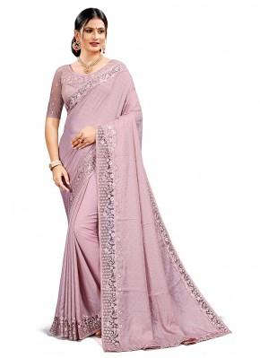 Traditional Designer Saree Resham Satin Silk in Lavender