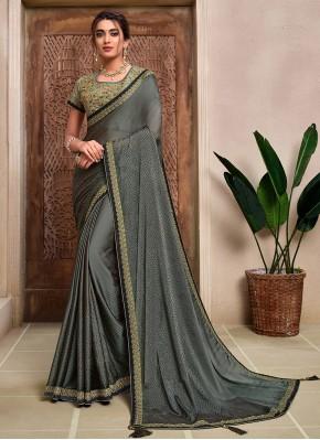 Traditional Designer Saree Resham Silk in Grey