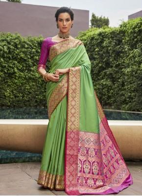 Traditional Designer Saree Woven Art Silk in Green