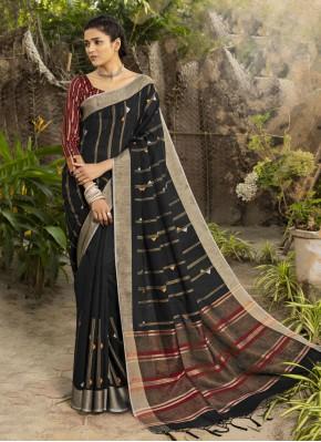 Traditional Designer Saree Woven Linen in Black