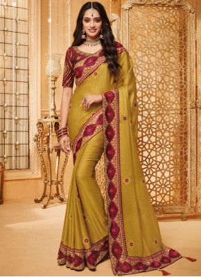 Traditional Saree Embroidered Fancy Fabric in Mustard