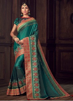 Traditional Saree Embroidered Poly Silk in Green