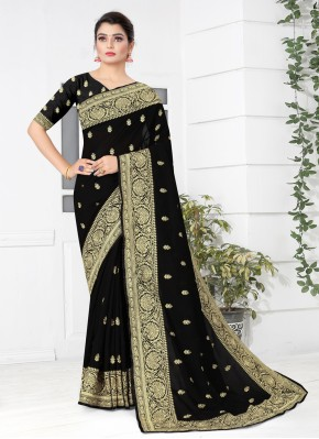 Traditional Saree Embroidered Silk in Black