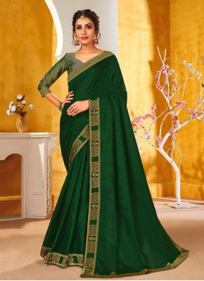 Traditional Saree Patch Border Vichitra Silk in Green