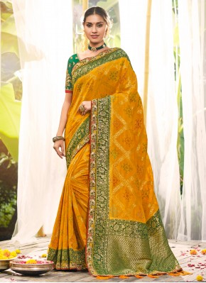 Traditional Saree Resham Silk in Yellow