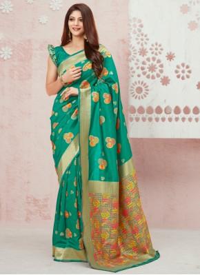 Traditional Saree Weaving Silk in Sea Green