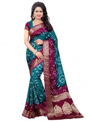 Transcendent Fancy Green and Rani Designer Traditional Saree