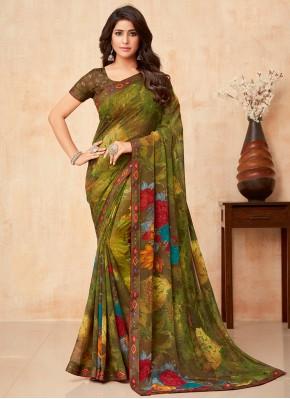 Transcendent Faux Georgette Multi Colour Trendy Saree