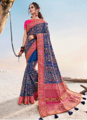 Transcendent Patch Border Blue Designer Saree