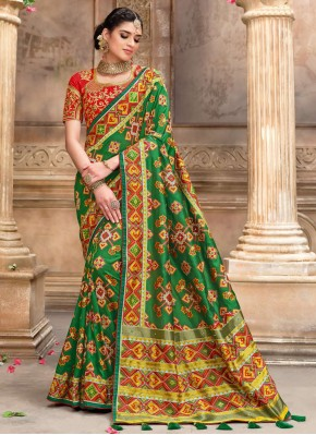 Transcendent Patola Silk  Embroidered Green and Red Designer Traditional Saree