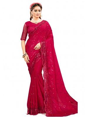 Transcendent Rani Georgette Satin Classic Designer Saree