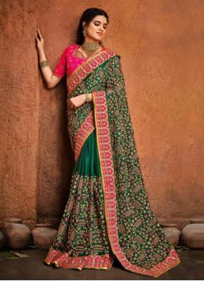 Transcendent Satin Green Classic Designer Saree