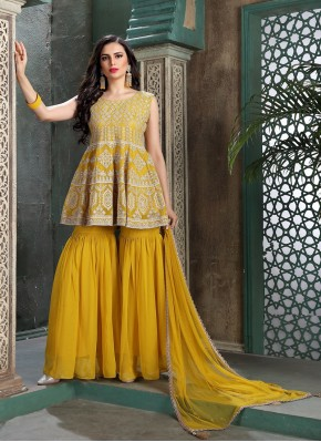 Trend Setter Chiffon Thread Work Designer Ready made Palazzo Dress