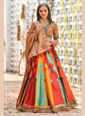 Trendy Designer Lehenga Choli Embroidered Banarasi Silk in Multi Colour