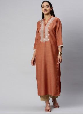Trendy Fancy Rust Silk Party Wear Kurti