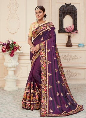 Trendy Patch Border Silk Wine Classic Designer Saree