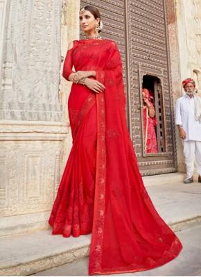 Trendy Red Weaving Silk Contemporary Saree