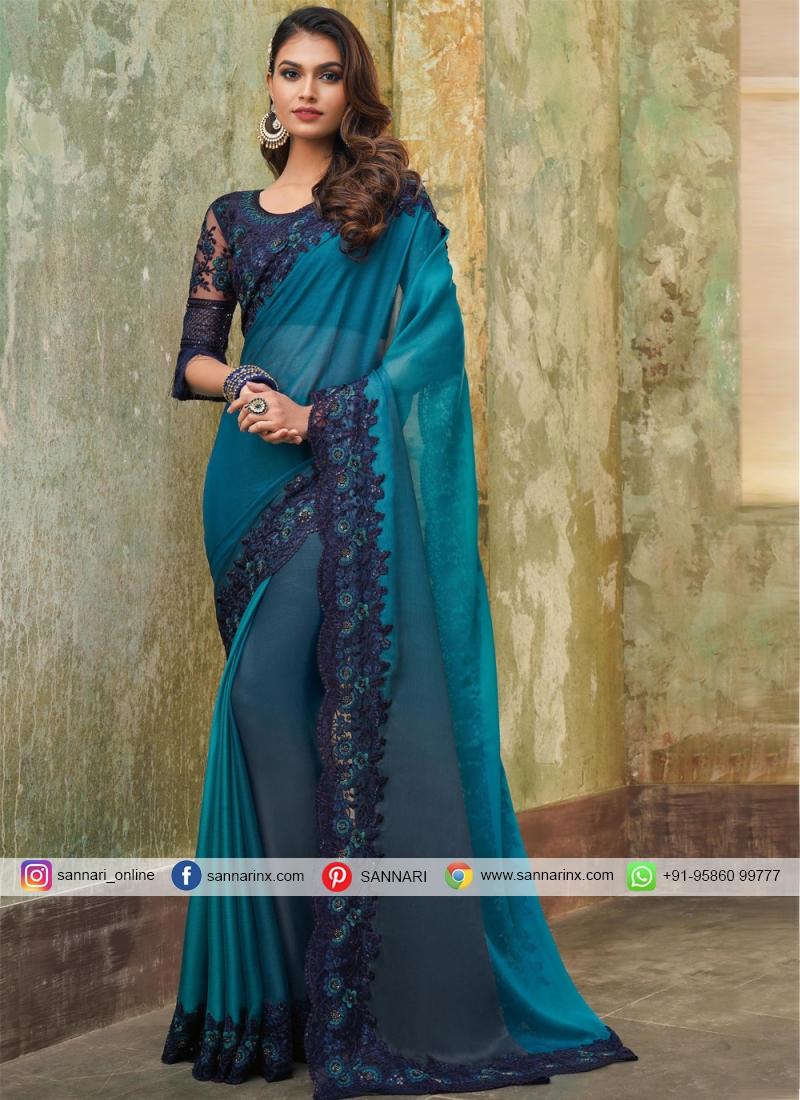 Trendy Saree Embroidered Faux Chiffon in Multi Colour