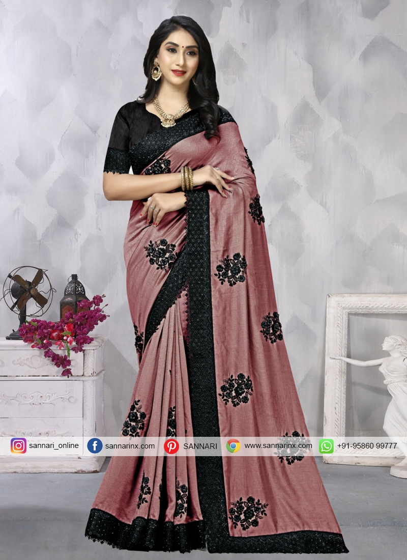 Trendy Saree Embroidered Vichitra Silk in Pink