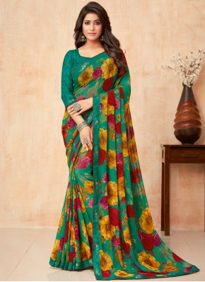 Trendy Saree Floral Print Faux Georgette in Green