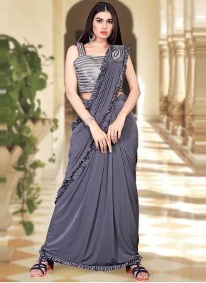 Trendy Saree Sequins Lycra in Grey