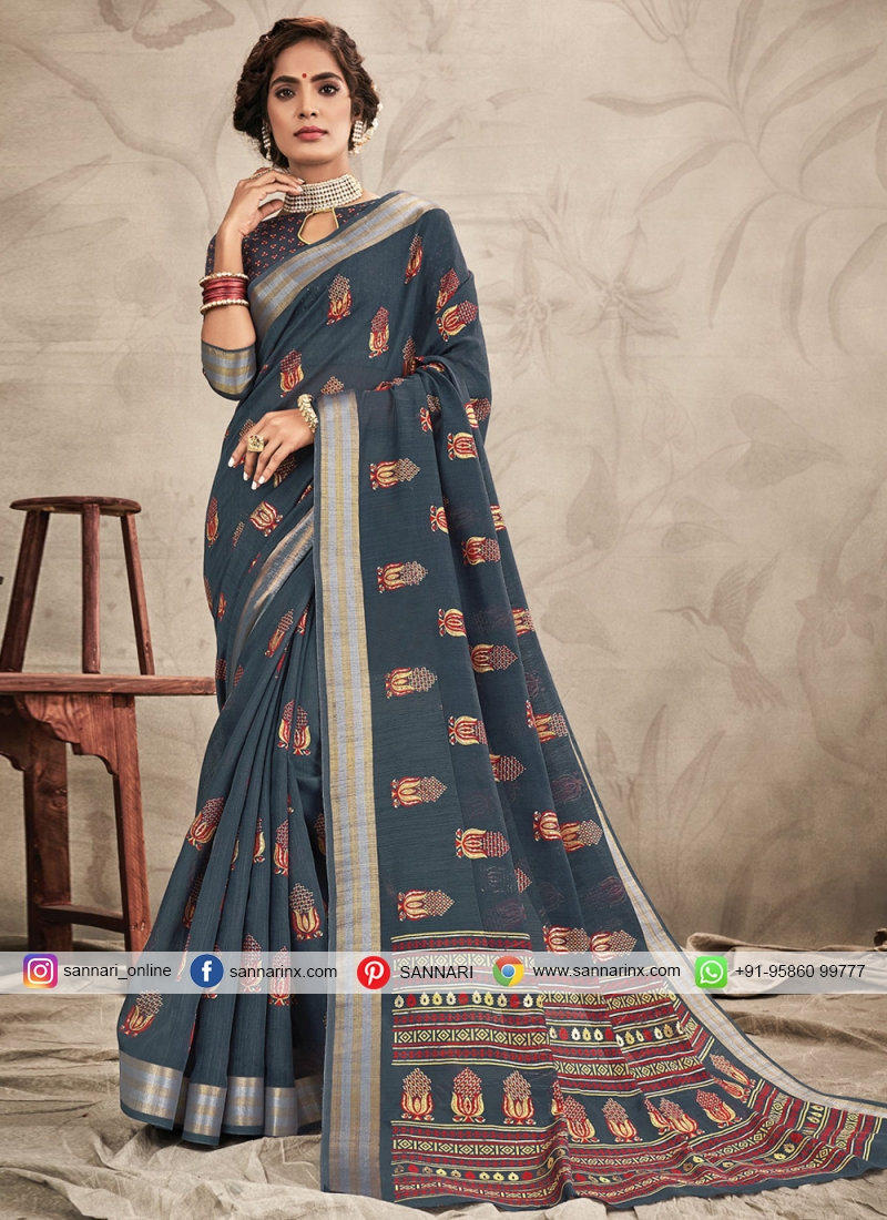 Trendy Saree Zari Chanderi in Grey