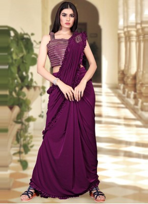 Trendy Sequins Purple Trendy Saree