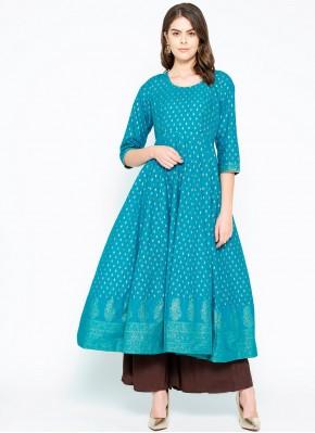 Turquoise Cotton Designer Kurti