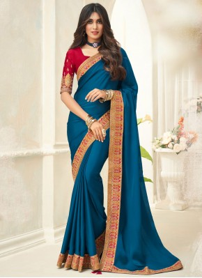 Turquoise Embroidered Traditional Saree