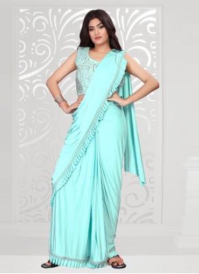 Turquoise Lycra Trendy Saree