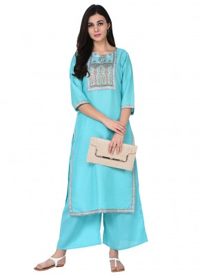 Turquoise Party Poly Silk Party Wear Kurti