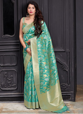 Turquoise Party Silk Classic Saree