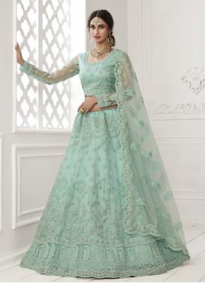 Turquoise Sangeet Net Lehenga Choli