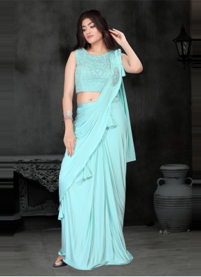 Turquoise Sequins Trendy Saree