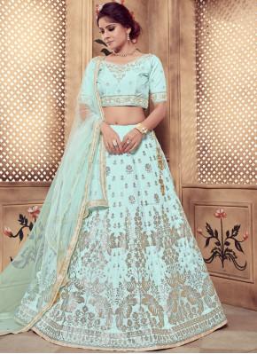 Turquoise Zari Art Silk Designer Lehenga Choli