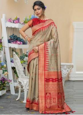 Tussar Silk Beige Classic Designer Saree