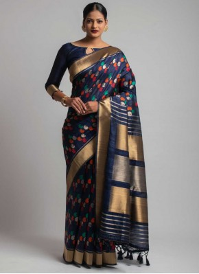 Tussar Silk Black Weaving Designer Traditional Saree