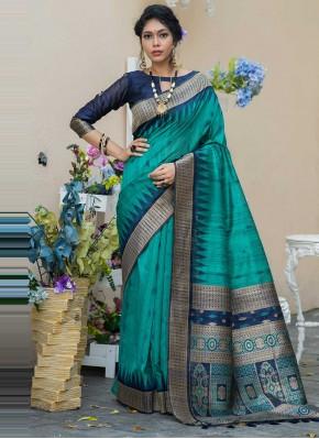Tussar Silk Designer Traditional Saree in Rama