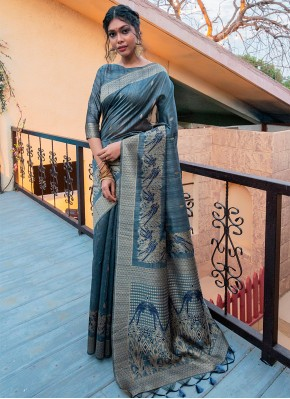 Tussar Silk Fancy Grey Designer Traditional Saree