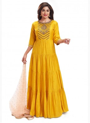 Unique Anarkali Suit Hand Embroidery in Yellow Silk