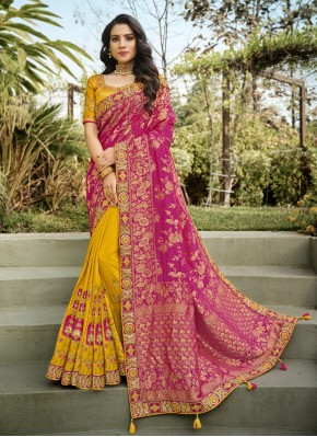 Unique Embroidered Hot Pink and Yellow Half N Half Designer Saree